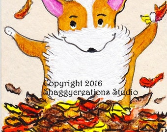 Autumn Leaves Corgi Art Card Original Painting ACEO ~ Animal Art ~ Pembroke Welsh Corgi Art ~ Autumn Art ~ Dog Art ~ Nursery Decor ~
