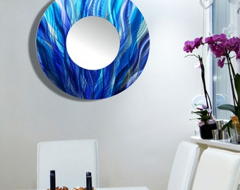 Modern Metal Wall Art, Aqua Blue & Purple Contemporary Circle Wall Mirror, Round Hanging Accent Mirror, Home Decor - Mirror 113 by Jon Allen
