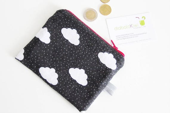 Zipped pouch - coin purse - clouds - dots - autumn - gray - dark gray - white - pink - mini pouch - shopping - woman - girl - gift