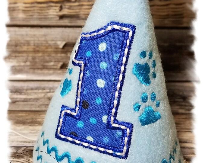 Dog Birthday Hat, Dog Paws, Boy Dog Birthday Hat, Blue Birthday Party Hat, Dogs First Birthday, Puppy Party, Gotcha Day