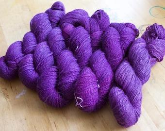 Purple Soldier Fly on DK weight alpaca/wool/silk yarn