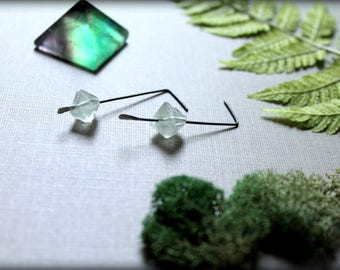 Fluorite Crystal Earrings, Raw Green Crystal Earrings, MInimalist Fluorite Cube Earrings