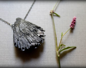 Black Kyanite Necklace, Raw Crystal Fan Necklace, Healing Crystal Necklace
