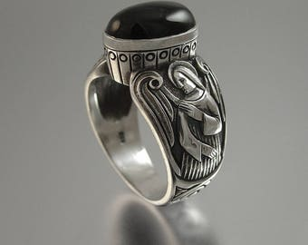 Guardian Angels Black Onyx Mens Silver Ring (sizes 8 to 14) unisex band
