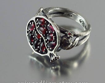 POMEGRANATE garnet silver ring Ready to ship