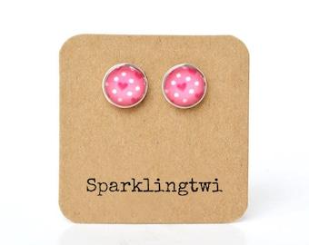 Pink Stud Earrings, Valentine Jewelry, Cute Earrings, Pink Silver Post Earrings, Heart Earrings, Heart Stud Earrings, 12mm Glass Earrings