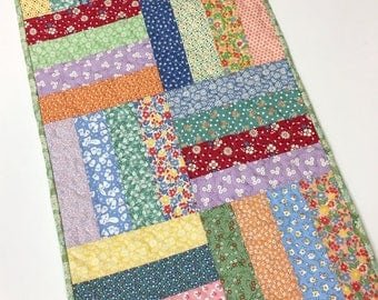 Table Runner Calico Flowers Table Topper Handmade Quilted  Spring Summer