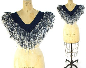 80s Denim Fringe Collar / Vintage 80s Insane Handmade Artsy Avant Garde Southwestern Rocker Jeans Rag Statement Top Made in Texas