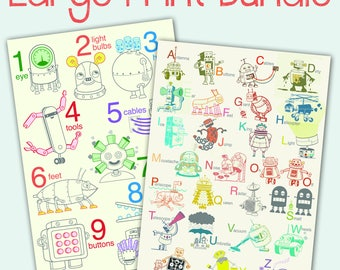 Sale  Free Shipping - Large Robot Print Bundle - robot poster, baby art, nursery decor, robot art print, alphabet art print, number wall art