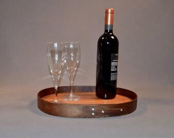 Shaker oval tray from walnut and cherry