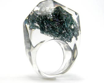 Clear resin ring with Carborundum