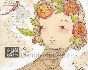 Original Watercolor woman with dragonfly and flowers in her hair ON SALE