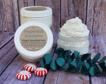 Peppermint Eucalyptus Body Butter, Natural Body Moisturizer, Whipped Body Cream, Lightly Scented Lotion, Moisturizing Lotion, 2 oz, 4 oz