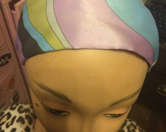 "Vintage Pucci-esque Lilac Blue Sage Green Silk Print 2.7"" WIDE Headband"