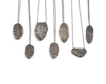Fossil Fern Necklace Raw Stone Necklace Rough Stone Pendant Nature Jewelry Natural History Preserved Fern Pendant Anniversary Gift Unisex