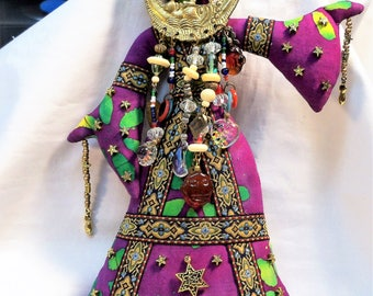 Ooak Celestial Sun Moon Priestess beaded cloth fantasy art doll 11 in. Goddess Tribal Altar Spirit
