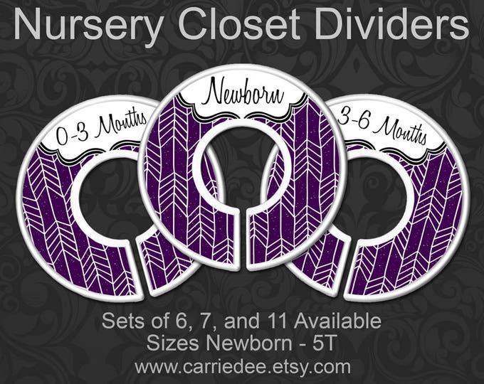 Dark Purple Arrow Baby Closet Dividers, Purple Nursery Closet, Baby Clothes Organizers, Baby Shower Gift, Baby Girl Gift