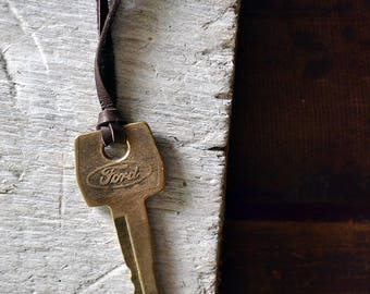 Vintage Ford Key Necklace - Ford Necklace - Men's Necklace - Chose Your Chain - Leather Cord