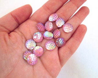 Ten 12mm Pink Iridescent Fish Scale Cabochons, Mermaid Cabochons, H440
