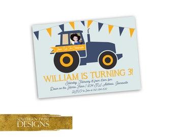 Farmer Birthday Invitation - Tractor Birthday Invitation - Tractor Birthday Invite with Photo - Personalized Farm Tractor Invite with Photo