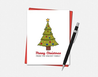 Merry Christmas Card - Personalized Merry Christmas Card - Personalized Christmas Tree Card - Custom Christmas Card