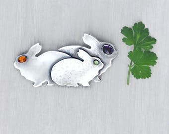 Vintage Bunny Trio Brooch - sterling silver rabbit family with gemstone eyes - artisan handmade pin - Iriniri 1991