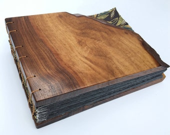 Photo Album, walnut wood coptic stitch , journal, guest book