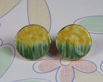 Monet Yellow Post Ceramic Porcelain Earrings