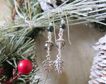 Winter Woods Earrings - Whisky Quartz and Green Goldstone