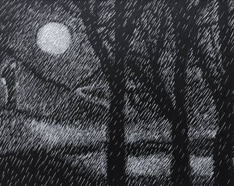 Silent Moment in Moonlight: One-of-a-kind black and white scratch board drawing by Kathie Young