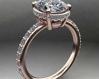 lola ring - 2 carat oval NEO moissanite engagement ring, diamond wrap