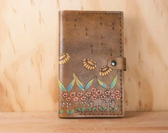 Moleskine Notebook - Leather Journal Cover in the Seeds Pattern - Flowers in yellow, pink, orange and antique brown - Third Anniversary