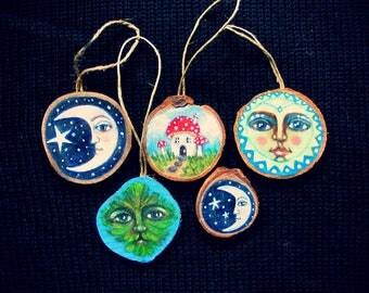 Miniature painting on wood, sun, melancholy moon, green man, mushroom house, moon brooch, ornaments, solstice, magical decor, fae decor