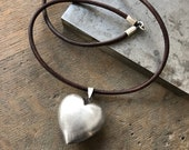 Reserved for Betsy - Sterling Silver Vintage Big Puffy Heart Pendant on Dark Chocolate Brown 18 Inch Leather Cord Sterling Hook Clasp