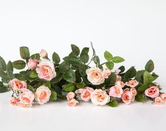 22 Mini Roses and Rose Foliage in Pink, Peach, Ivory- TINY ROSES - Artificial Flowers, Artificial Roses - ITEM 01162