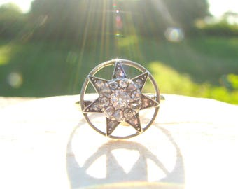 Antique Diamond Halo Star Ring, Fiery Old European and Old Rose Cut Diamonds, Striking Design in 14K Gold and Silver