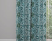 Tribal Marks Print Window Curtain Panel - Blue/Green - Free Shipping