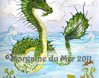 Sea Serpent Ocean Dragon Print Ink and Watercolour Illustration Fantasy Mythical Water Creature Wall Art