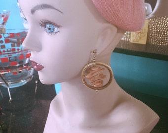Vintage 1940s Style earrings wood hoop novelty Tiki Swing Rockabilly 40s 1950s 50s