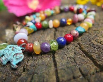 Crystal Rainbow Necklace - Kids Jewelry OR Women's Choker Collar Necklace - Bohemian Chakra Gemstone - Beaded Boho Hippy - Elephant Pendant