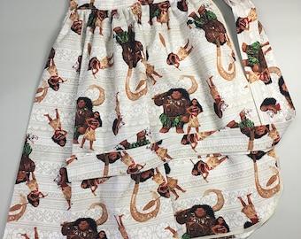 Half Apron - Vintage Pin Up Skirt Style - Moana Maui Pua Hei Hei Disney Polynesian Tiki Te Fiti one size plus size curvy