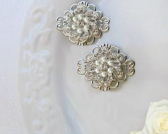 Wedding Hair Clips, Small barrettes, Pearl and silver ,Bridal clip, wedding barrette, bridesmaid hair accessories, Bridesmaids Gift
