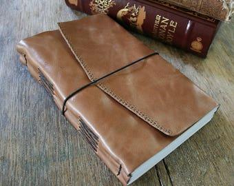Leather Journal / Sketchbook / Wedding Guestbook . large 9x6 . handbound . tan/honey brown leather, embossed (320 pgs)