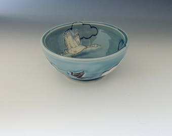 Origami Clay Bowl - blue porcelain ceramic dish with cranes and clouds - wheel thrown handmade pottery