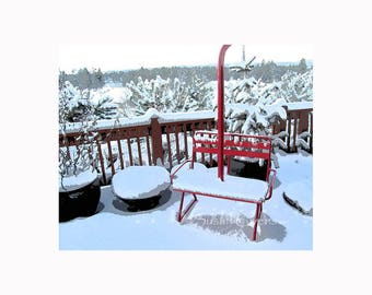 "Red Ski Chair, Bend Oregon Skiing Decor, Gift for Him ""Red Chair Northwest Pale Ale"" Deschutes Brewery Gift for Skier Snow Art,  Snow Photo"