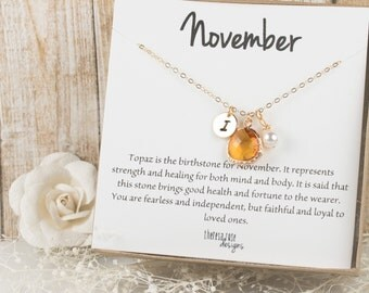 November Birthstone Topaz Personalized Gold Necklace, Topaz Necklace, November Birthday Jewelry, Personalized Gold Necklace #877