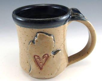 Lower Peninsula of Michigan Mug/Hand Made Love Michigan Heart Mug/Pottery Michigan Mug 12 Ounces