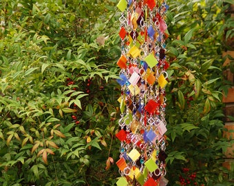 Glass Wind Chime - Glass Suncatcher - OOAK Gift For Her, Garden Decor, Anniversary, Birthday, Wedding, Housewarming, Sogno dell'isola
