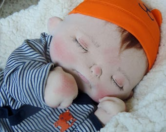 Andrew a One of a Kind Soft Sculpture Baby Doll by BeBe Babies Cloth Baby Doll OOAK Art Doll