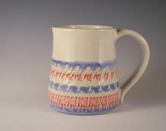 Pottery Mug in White, red and blue